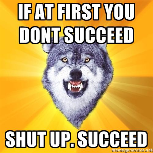 If at first you don't succeed, shut up. Succeed.