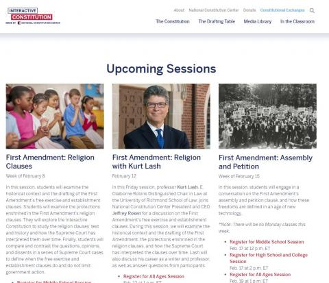 Upcoming Constitution Center Sessions