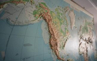 Map with Alaska & North America