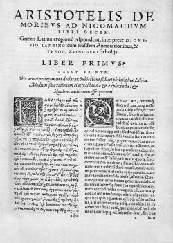 1566 Edition of the Nicomachean Ethics.